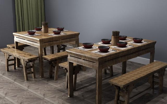 中式餐桌椅组合3D模型