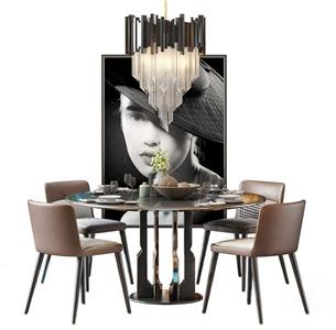 新中式餐桌椅 新中式餐桌椅 圆餐桌 椅子 吊灯 挂画 餐具