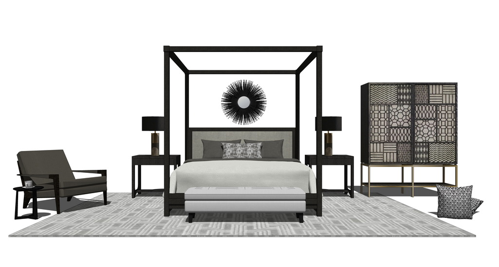 中式卧室家具组合SU模型