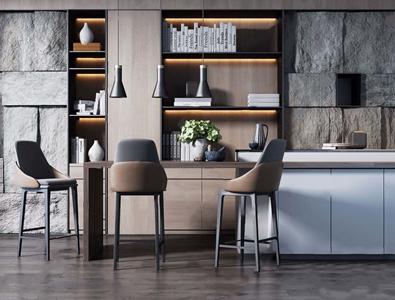 现代多功能休闲吧台、吧椅 现代吧椅 吧台 书柜 金属吊灯