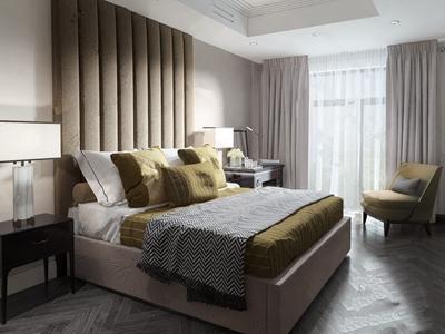 圣彼得堡公寓现代简约卧室 现代卧室 双人床 抱枕 单人沙发 单人椅 梳妆桌 台灯 装饰画 摆件