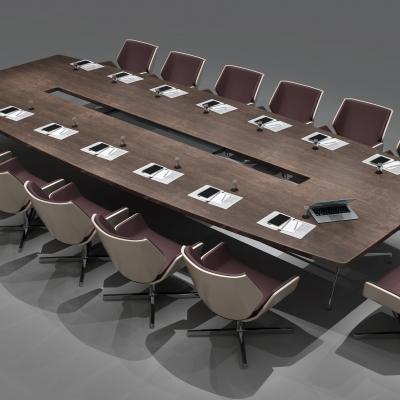 现代实木大型会议桌3d模型