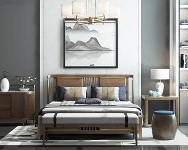 新中式雙人床 新中式雙人床 邊柜 床頭柜 沙發凳 床尾凳 臺燈 吊燈 裝飾畫 擺件