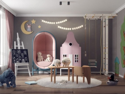现代流行北欧风格儿童娱乐室国外3D模型下载