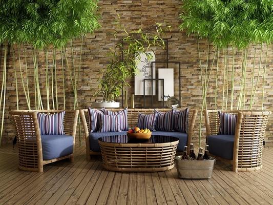 室外藤编家具组合 室外家具 藤编椅子 双人椅 单人椅 竹子 摆件 茶几