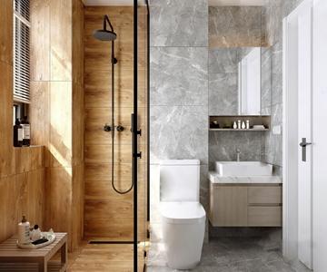 现代卫生间 现代卫浴 马桶 花洒 洗手台 卫浴柜 凳子