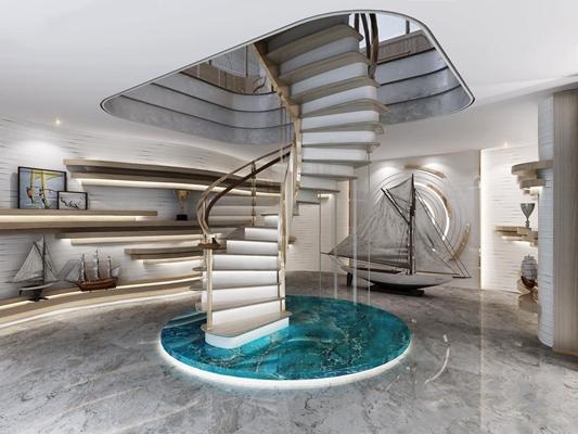 现代圆形楼梯 现代娱乐室 圆形楼梯 模型船
