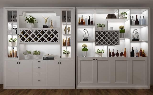 歐式簡約酒柜3D模型