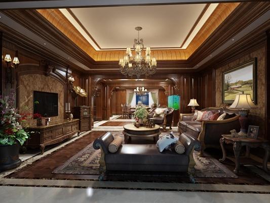 高贵典雅美式客餐厅 美式客厅 美式餐厅 茶几 双人沙发 吊灯 电视柜 沙发凳 台灯 角几 边柜 美式客厅 美式餐厅 茶几 双人沙发 吊灯 电视柜 沙发凳 台灯 角几 边柜