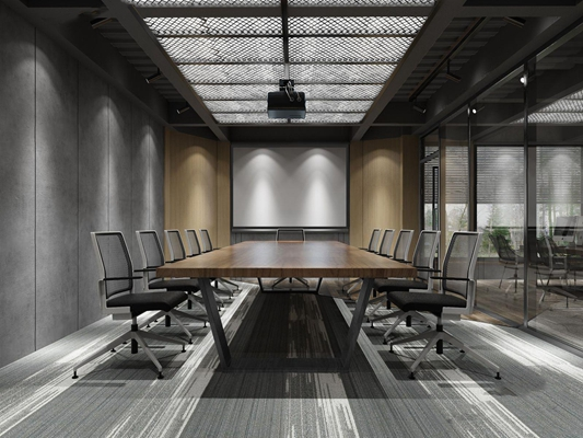 工业风会议室 工业风会议室 办公桌 办公椅 投影仪 投影幕布