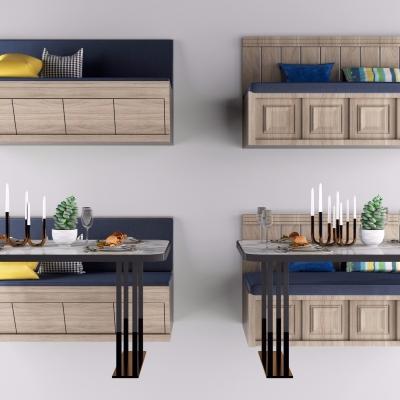 现代实木餐桌椅卡座组合3D模型