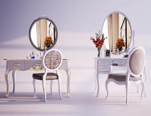 欧式梳妆台 简欧梳妆台 镜子 椅子 陈设品 化妆品