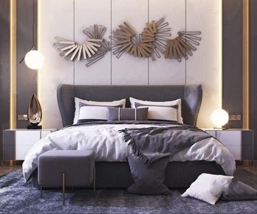 现代轻奢双人床 现代双人床 床头柜 床尾凳 墙饰 台灯
