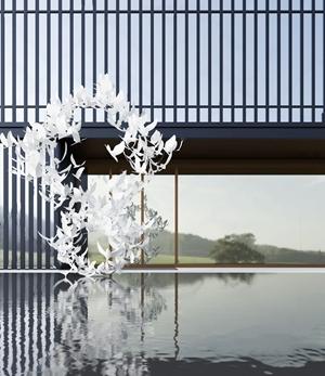 新中式售楼处景观 新中式售楼处 水景 玻璃幕墙 鸽子雕塑