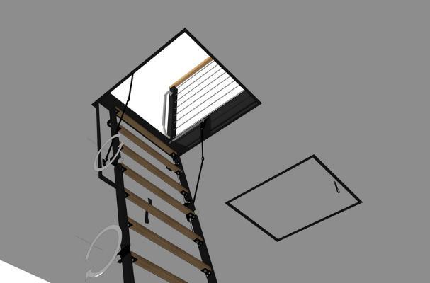 阁楼伸缩梯子SU模型