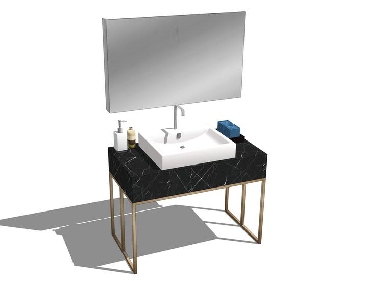 现代卫浴洗手台SU模型