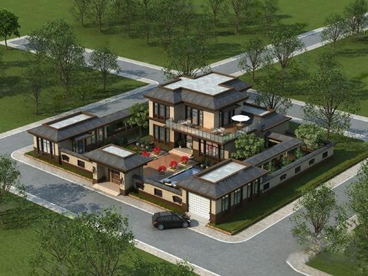新中式别墅3D模型