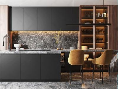 现代厨房吧椅 现代厨房用品 吧台 吧椅 橱柜 椅子 吊灯