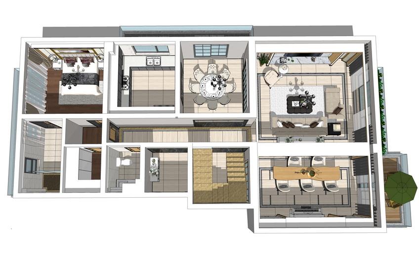 现代复式别墅室内设计SU模型