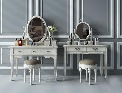 美式梳妆台 美式梳妆台 装饰品 梳妆椅 香水 花艺 镜子