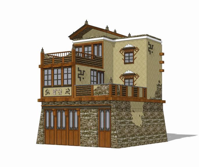 羌族民居SU模型