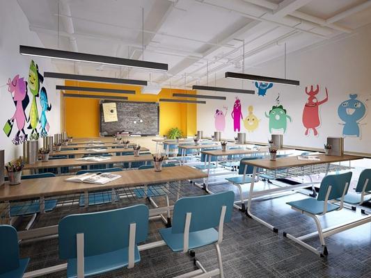 现代教室 现代教室 桌椅 黑板 配饰 儿童画 吊灯 培训机构