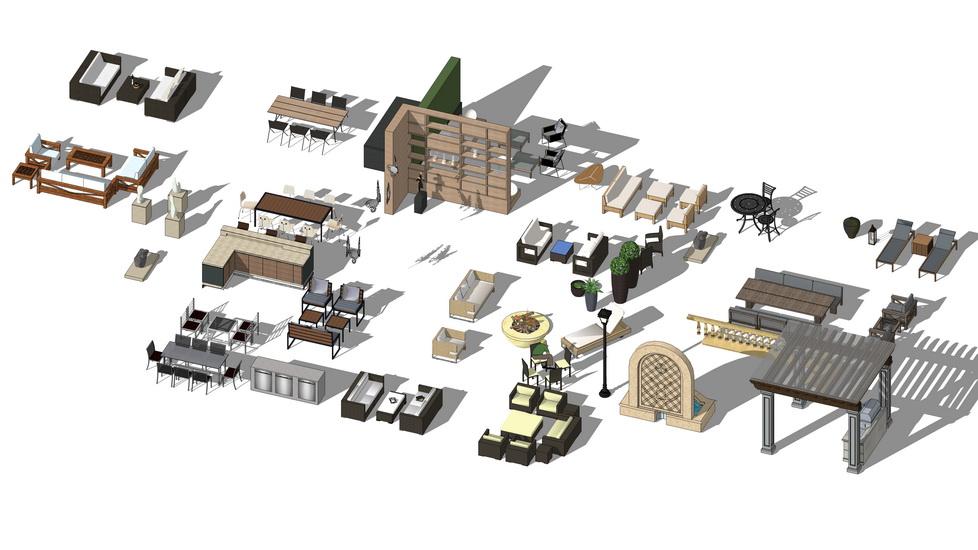 户外沙发家具组合SU模型