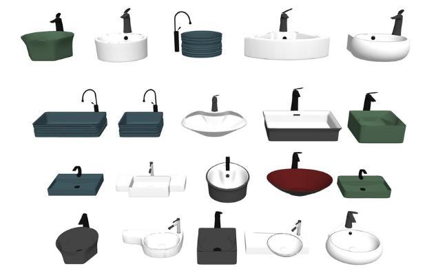 台盆洗手盆组合SU模型