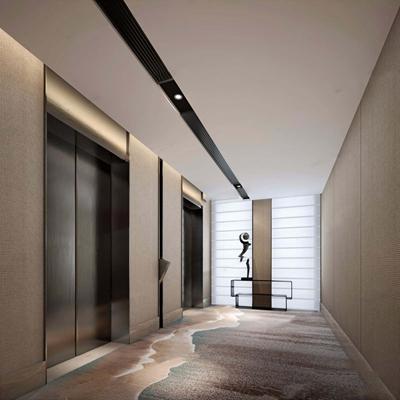 现代电梯间 玄关台 雕塑