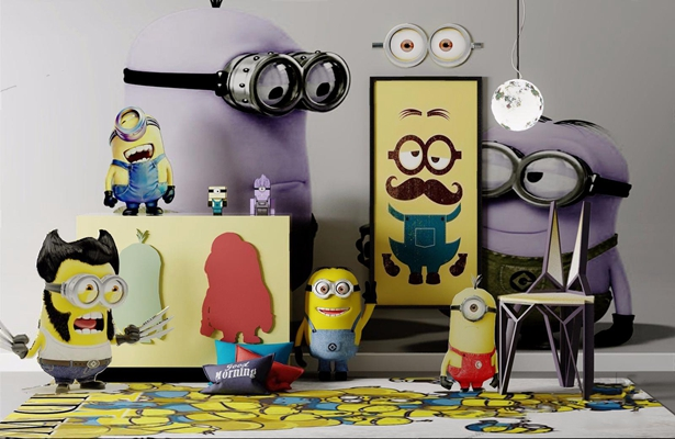 小黄人主题摆件 摆件 玩具 椅子 地毯