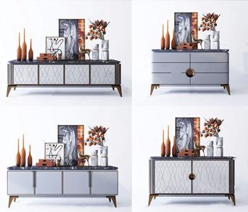 现代电视柜边柜饰品摆件组合 现代电视柜 边柜 饰品摆件 花艺 装饰盒