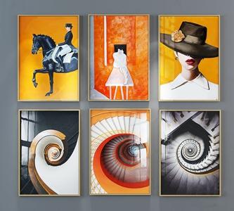 现代装饰画组合 现代挂画相框 装饰画组合