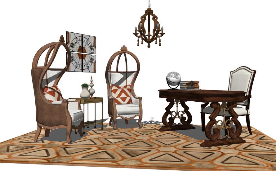 美式书房家具组合SU模型