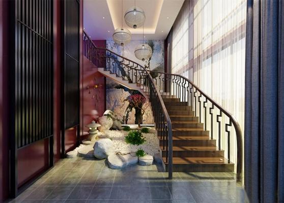 中式楼梯间 中式其他 吊灯 窗帘 装饰品 碎石