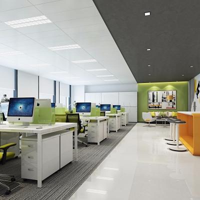 现代敞开式办公区休闲区3D模型