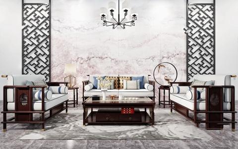 新中式沙发组合 新中式组合沙发 双人沙发 单人沙发 茶几 角几 吊灯