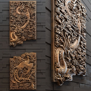 新中式木雕 新中式墙饰 浮雕 龙凤浮雕 浮雕挂画 木板雕刻 中式浮雕 墙饰 中式墙饰