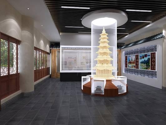 新中式展厅3D模型
