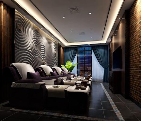 新中式足浴包厢 新中式spa 休闲沙发 脚踏 边柜 电视 窗帘 装饰画 植物摆件
