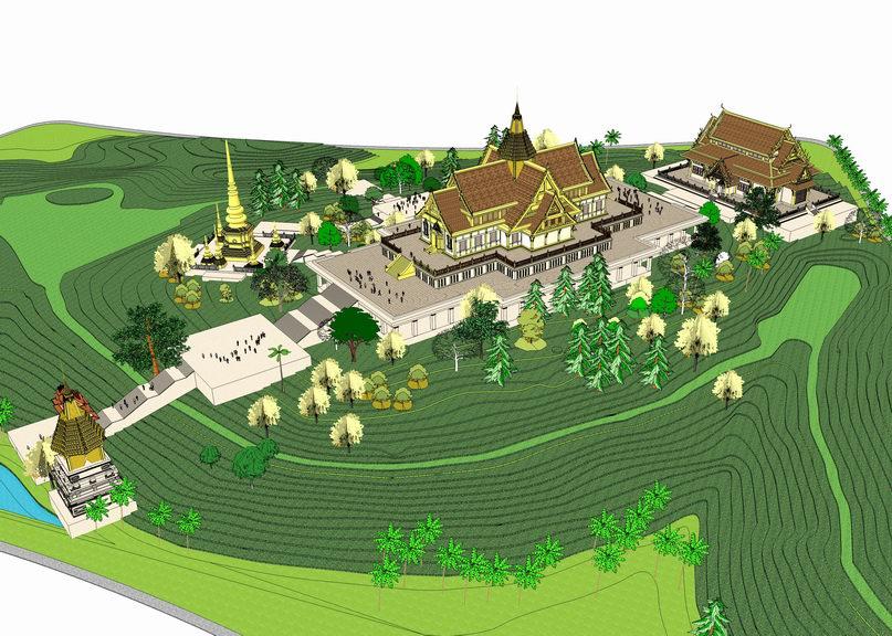 泰国风格寺庙群落SU模型
