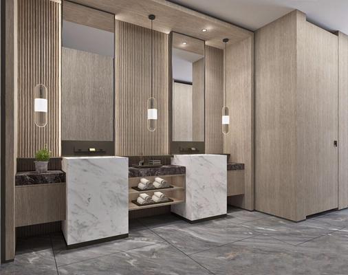 新中式公共卫生间 新中式卫生间 洗手台 单头吊灯 公共卫生间