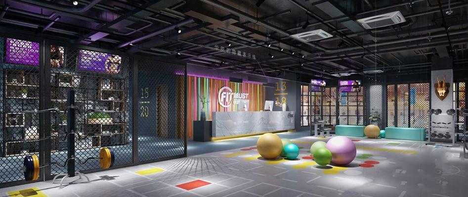 工业风健身房 工业风健身房 前台接待 接待台 墙饰 瑜伽球 健身器材