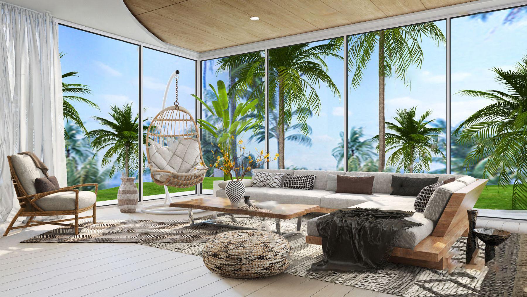 Vastu Villa设计 东南亚实木转角沙发组合3d模型