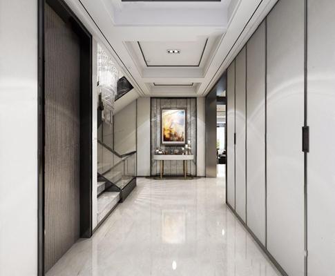 后现代门厅 后现代玄关 门厅 玄关台 挂画摆件 水晶吊灯