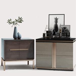 现代床头柜 现代床头柜 边柜 饰品摆件 花瓶 装饰画 挂画