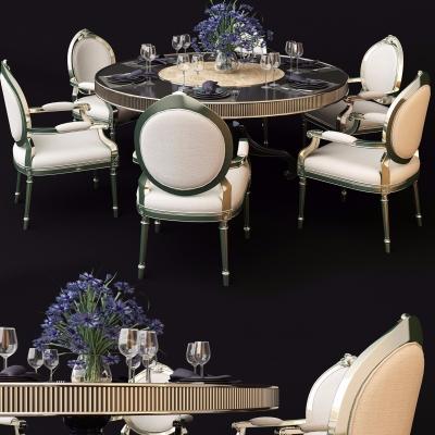 欧式圆形餐桌椅餐具组合3D模型