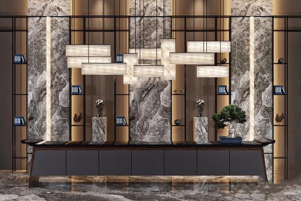 新中式接待区 新中式前台 接待台 吊灯 书架 松树盆栽