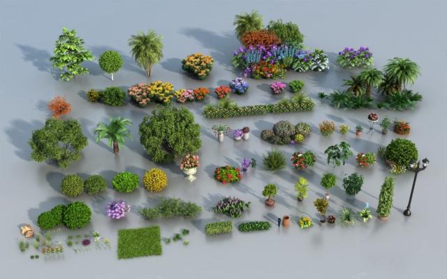 現代戶外花壇3D模型