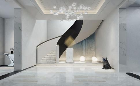 现代楼梯间 现代其他 雕塑 吊灯 楼梯 边几 动物雕像 地灯
