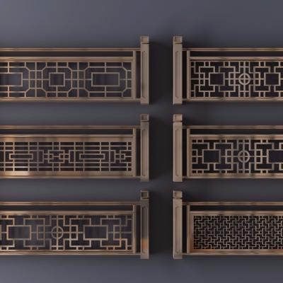 新中式金属雕花栏杆护栏组合3D模型